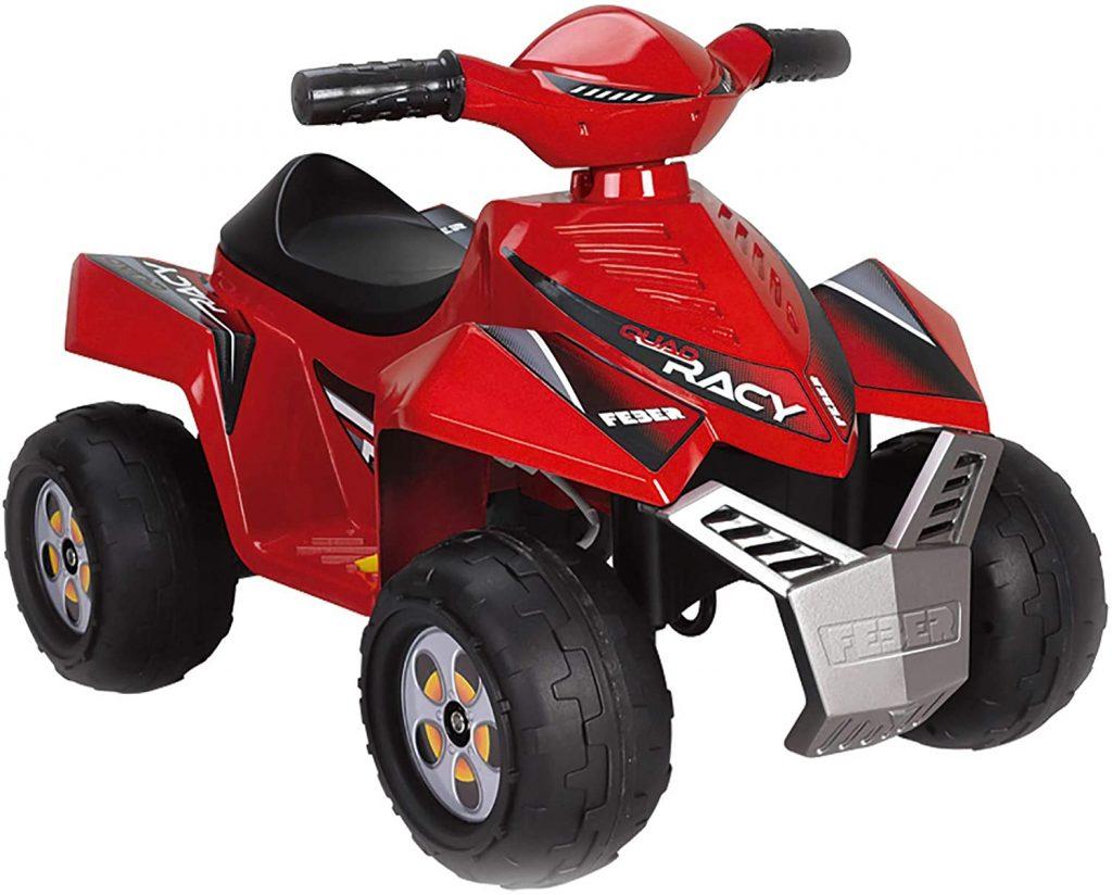 Ce quad électrique enfant Feber est de couleur rouge.