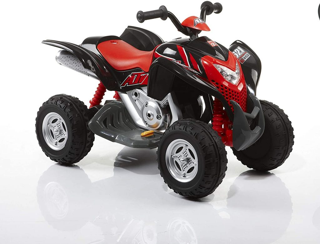 Le quad électrique enfant ROLLPLAY est de couleur noire et rouge.