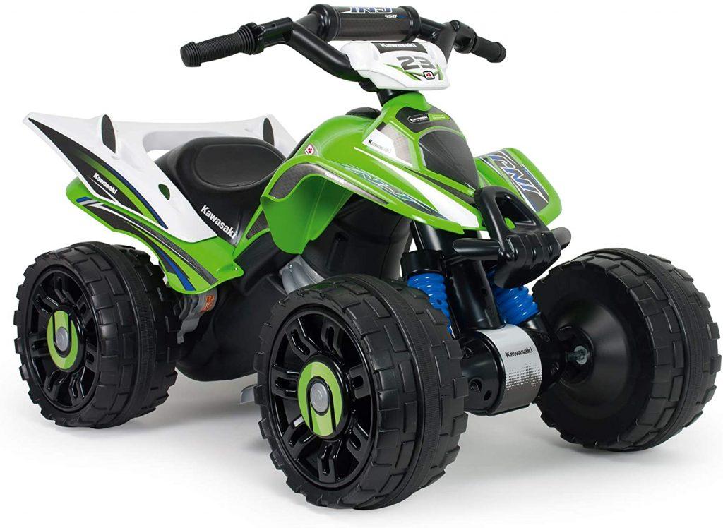 Ce quad enfant Kawasaki possède une batterie 12 V.