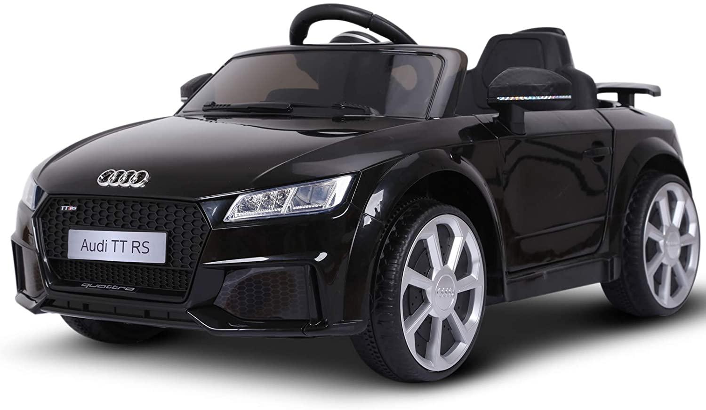 Cette voiture électrique enfant AUDI TT RS est noire.
